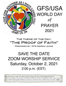GFS/USA World Day of Prayer @ Zoom Worship Service